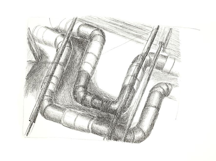 """Einladung zur Ausstellung Experiment Druckgraphik - 3 x Graphik - Alex Weise, Carolin Bernhofer, Frank Sievers, hier:  Lithographie  """"Fernwärmeleitungen"""" von C. Bernhofer"""